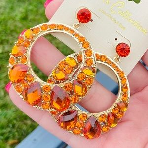 SOLD✨NEW✨Pumpkin Spice Crystal Jeweled Earrings!